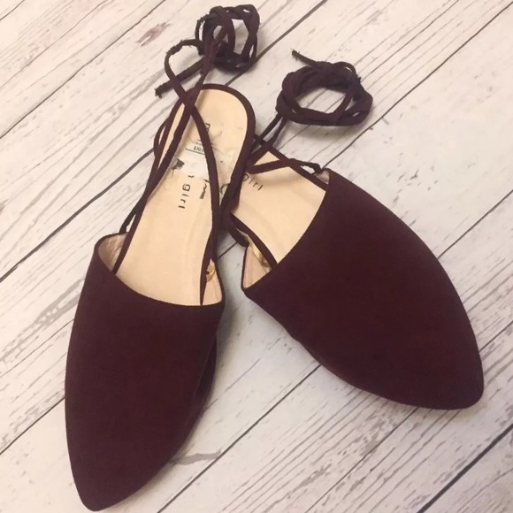 883c8ed42 Madden Girl Shoes | New Burgundy Red Lace Up Flats 85 | Poshmark